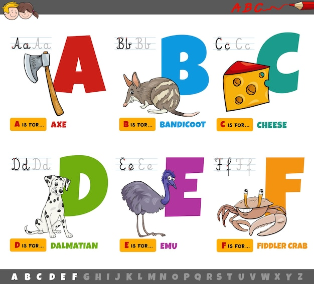 Educational cartoon alphabet letters for kids from a to f