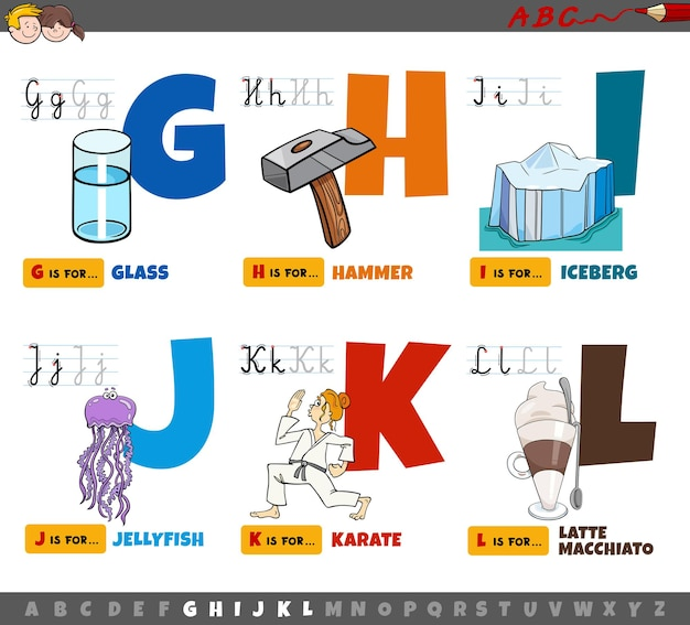 Educational cartoon alphabet letters for kids from g to l