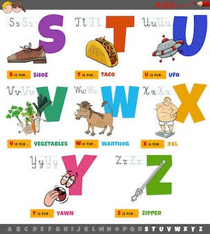 Educational cartoon alphabet letters for kids set from s to z