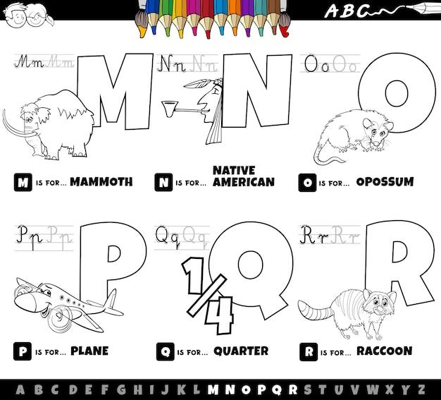 Educational cartoon alphabet letters set coloring book