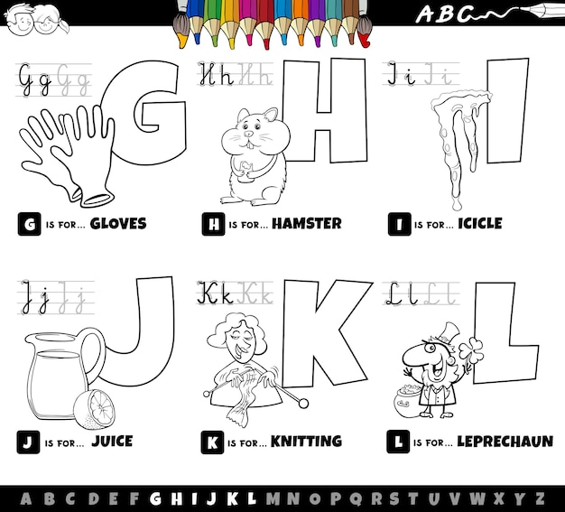 Educational cartoon alphabet letters set from g to l coloring book page