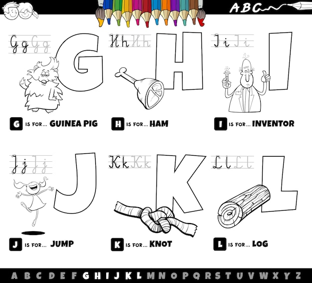 Educational cartoon alphabet letters set from g to l coloring book