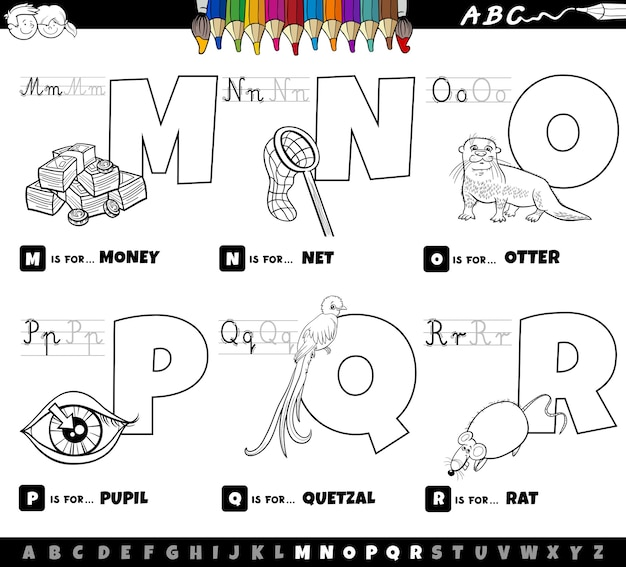 Educational cartoon alphabet letters set from m to r coloring book