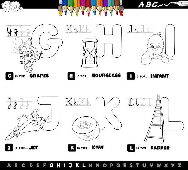 Educational cartoon alphabet set coloring book