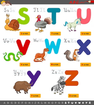 Educational cartoon alphabet set for learning