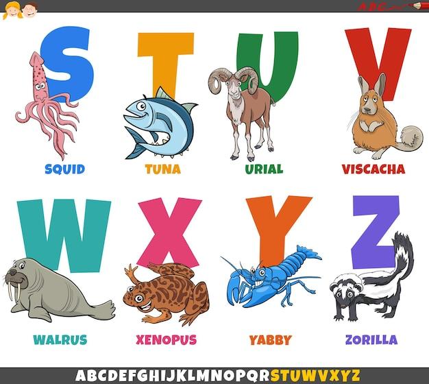 Educational cartoon alphabet set with animal characters