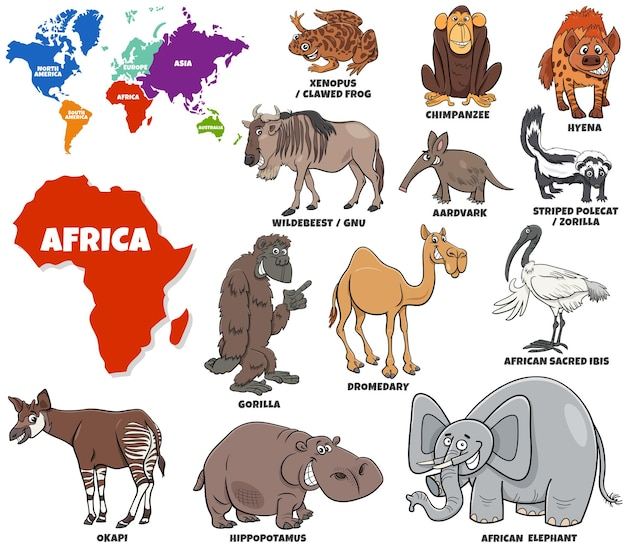 Educational cartoon illustration of african animals set and world map