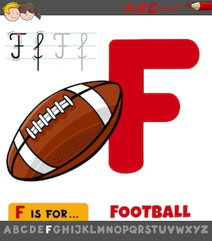 Educational cartoon illustration of letter f from alphabet with football ball for children