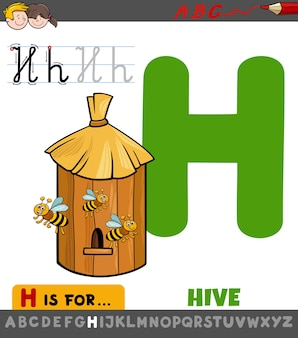 Educational cartoon illustration of letter h from alphabet with bee hive for children