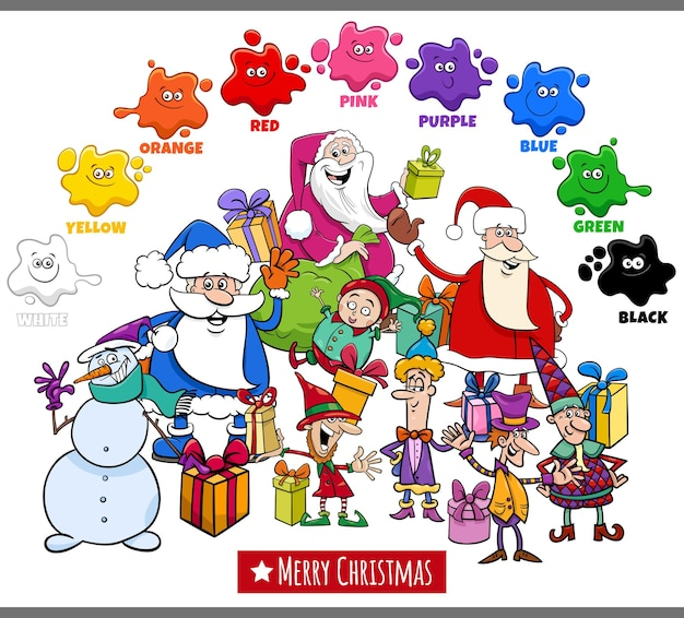 크리스마스 휴가 캐릭터와 기본 색상의 교육 만화 그림