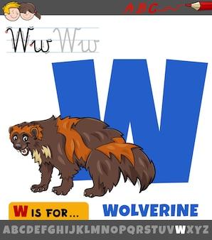 울버린 동물 캐릭터와 함께 알파벳에서 문자 w의 교육 만화 그림