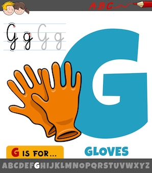Educational cartoon of letter g from alphabet with gloves
