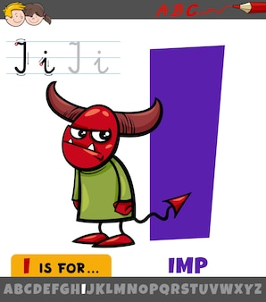 Educational cartoon of letter i from alphabet with imp character
