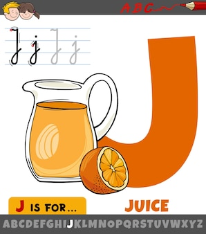 Educational cartoon of letter j from alphabet with juice