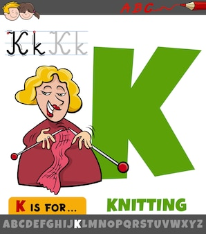 Educational cartoon of letter k from alphabet with knitting word
