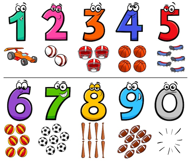 Educational cartoon numbers set with sport objects