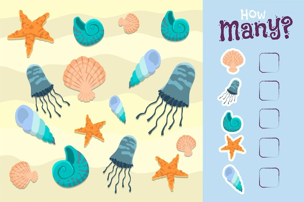 Gioco di conteggio educativo per bambini con elementi marini