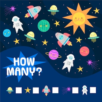 Educational counting game for children with space elements