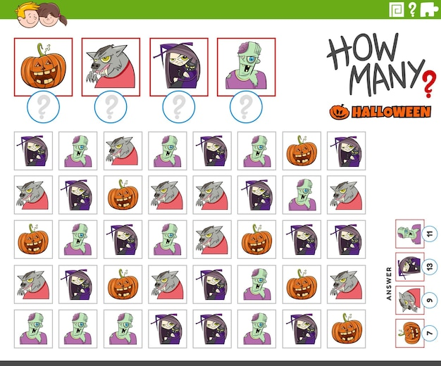 만화 할로윈 캐릭터가 있는 어린이를 위한 교육용 계산 게임