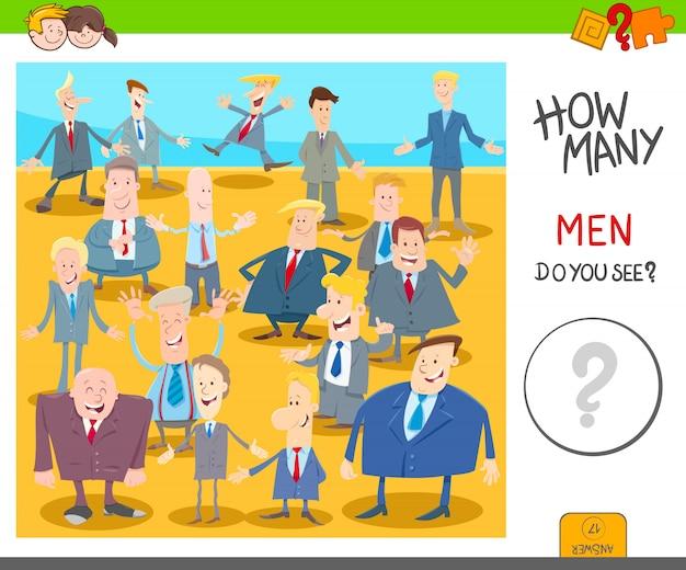 Обучающая игра для детей с мультипликационными мужчинами Premium векторы