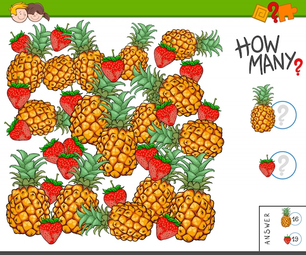 Educational counting task for children with fruits