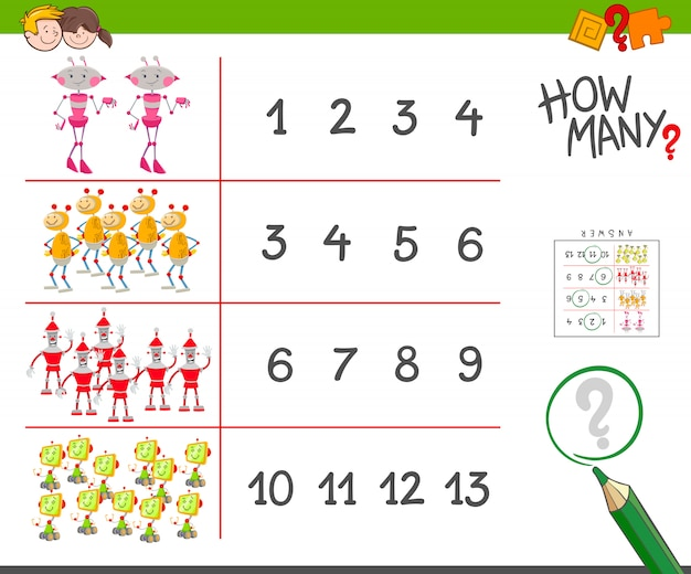 Educational counting task for children with robots