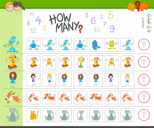 Educational counting task with cartoon monsters