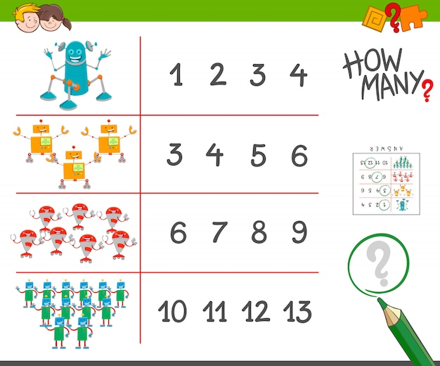 Educational counting task with robot characters