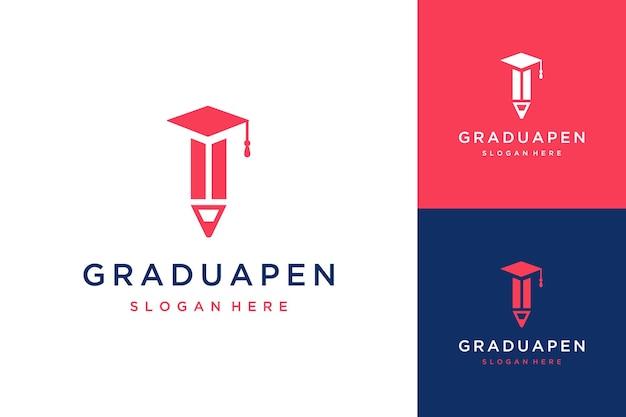 卒業帽子付き教育デザインロゴ鉛筆