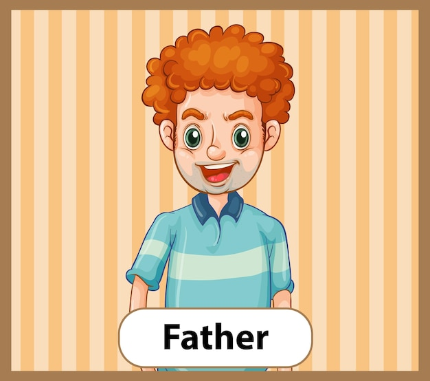 Educational english word card of father