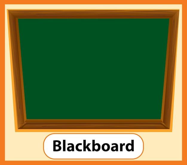 칠판의 교육용 영어 단어 카드