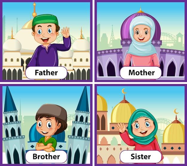 イスラム教徒の家族の教育英語ワードカード