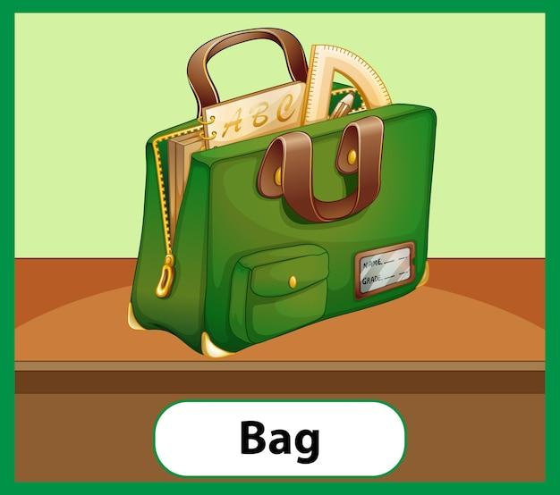 학교 가방의 교육용 영어 단어 카드