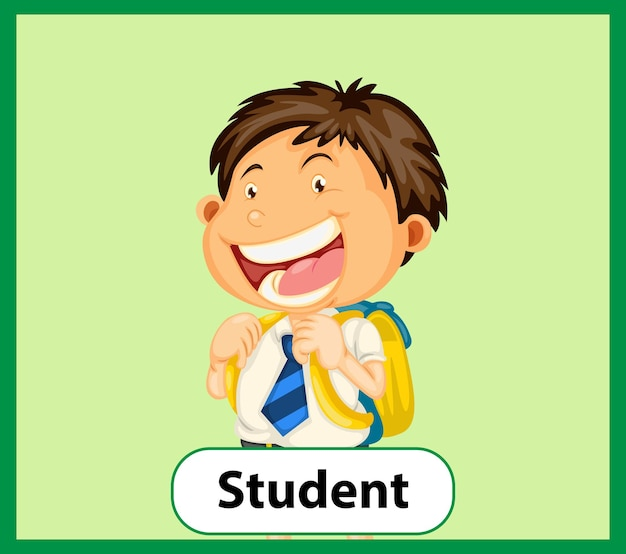 Educational english word card of student