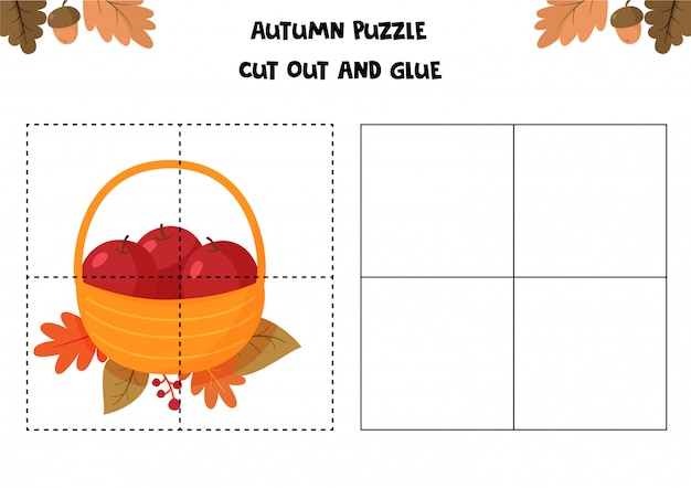 Educational game for children. autumn worksheet. puzzle for kids. cut out and glue. basket with apples.