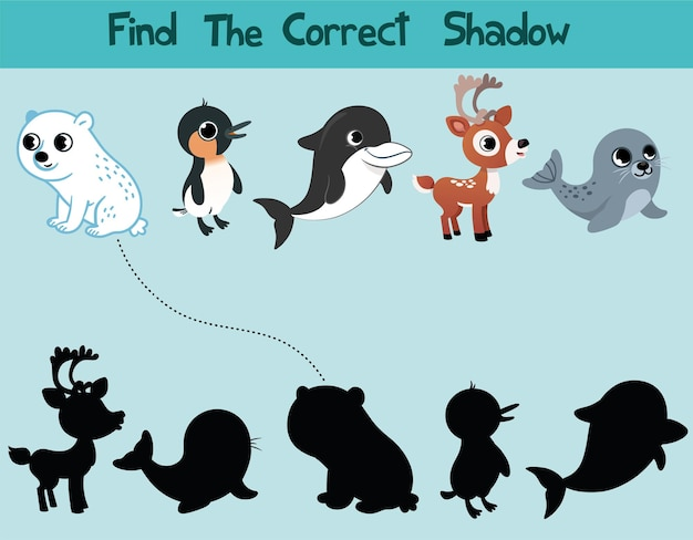 Educational game for children find the right shadow kids activity with arctic animals