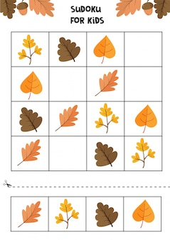 Educational game for children. sudoku for kids. autumn worksheet. set of cute autumn leaves.
