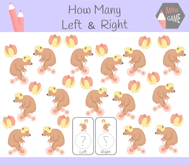 Educational game of counting left and right oriented pictures for children with bear