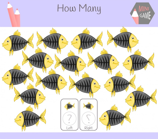 Educational game of counting left and right oriented pictures for children with fish