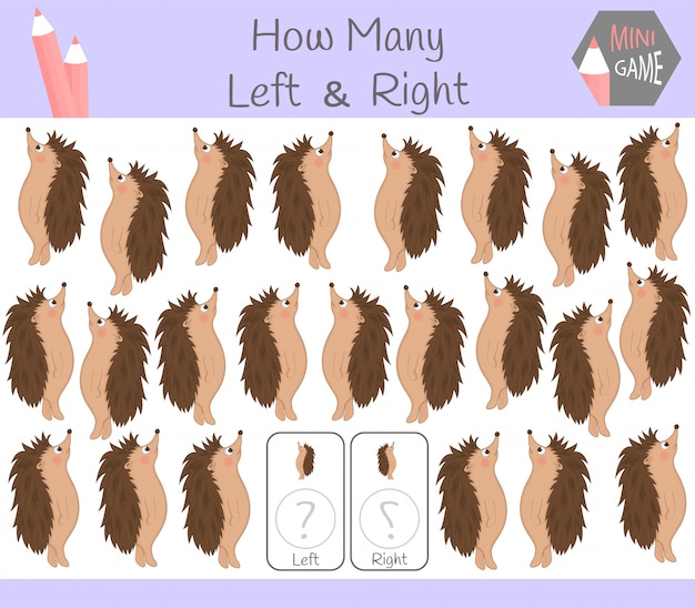 Educational game of counting left and right oriented pictures for children with hedgehog