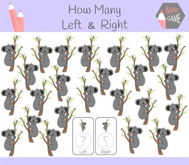 Educational game of counting left and right oriented pictures for children with kuala