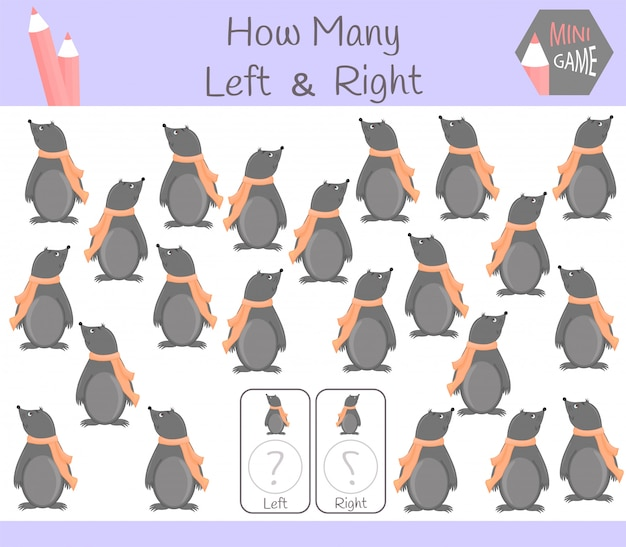 Educational game of counting left and right oriented pictures for children with mole