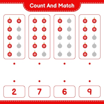 Educational game counting the number of christmas balls and matching with right numbers