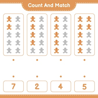 Обучающая игра с подсчетом количества пряничного человечка и совпадением с правильными числами