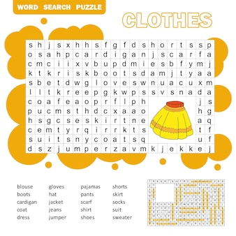 아이들을 위한 교육 게임. 옷 단어 찾기 퍼즐입니다. 어린이 활동 시트. 아이들을 위한 단어 찾기 퍼즐. 답변이 포함되어 있습니다.