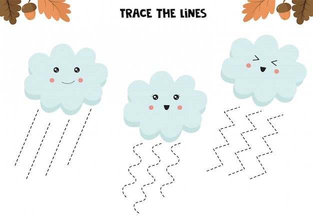 Educational game for kids. preschool worksheet. trace the lines. cute clouds. handwriting practice.