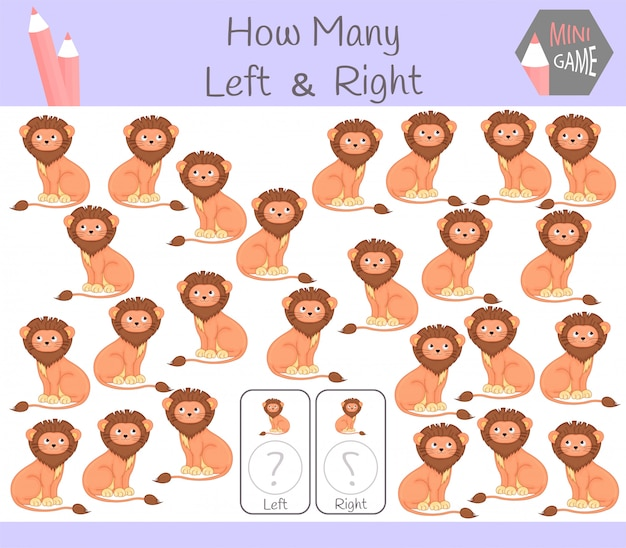 Educational game left and right oriented pictures with lion