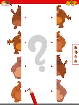 Educational game of matching halves of bears
