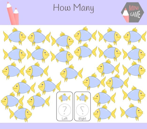 물고기가있는 아이들을위한 왼쪽과 오른쪽 방향의 그림을 세는 교육 게임.