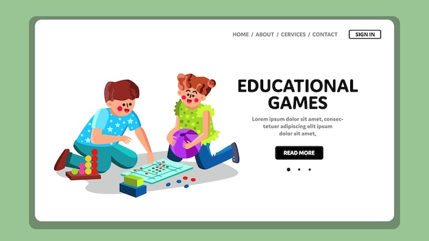 Educational games play small boy and girl